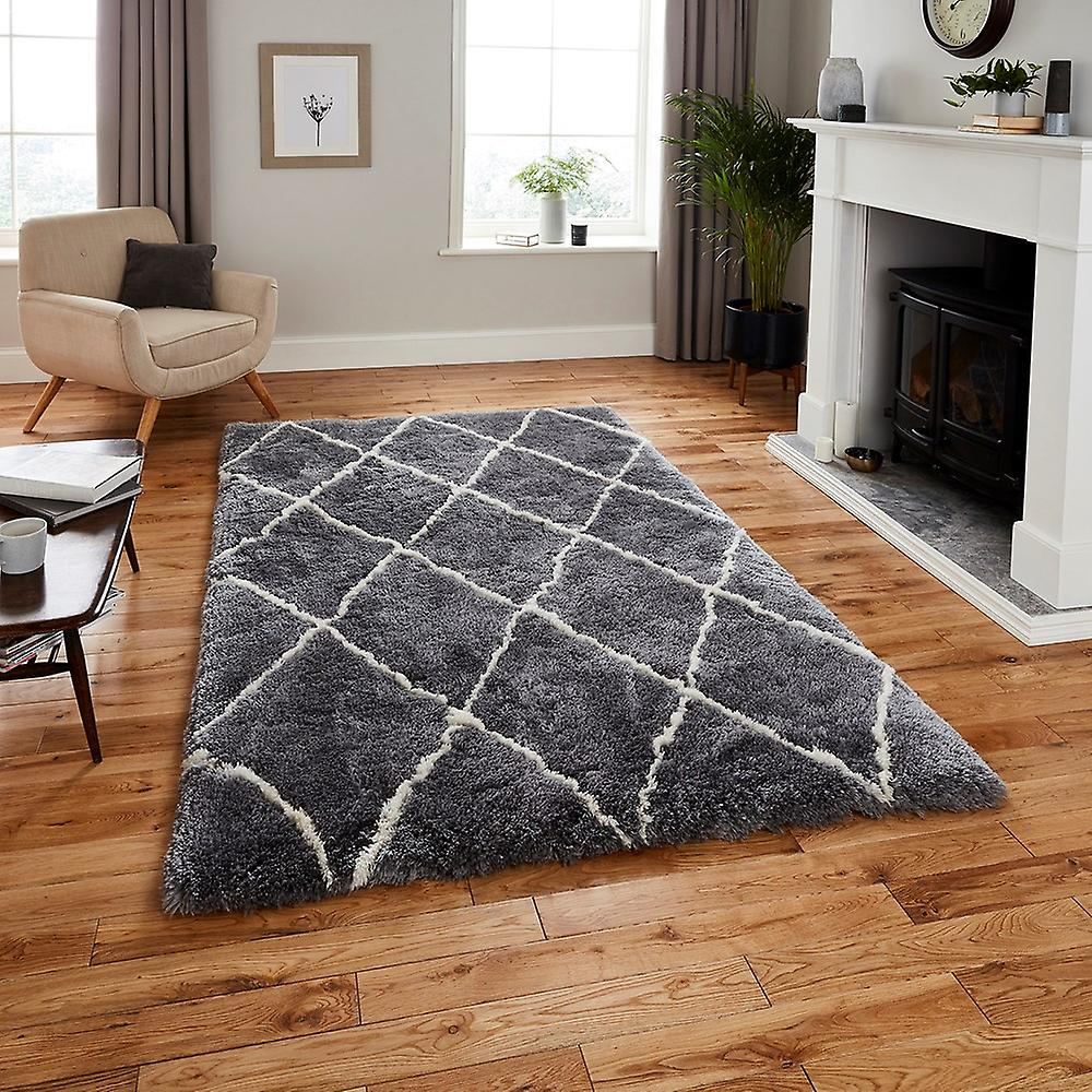Maroc pense 2491 tapis gris crème Rectangle tapis Plain presque ordinaire