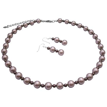 Spectacular Attractive Jewelry Platinum Champagne w/ Brown Pearls Set
