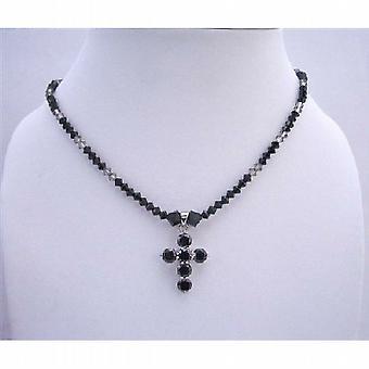 Black Cross Pendant Swarovski Jet & Black Diamond Crystals Necklace