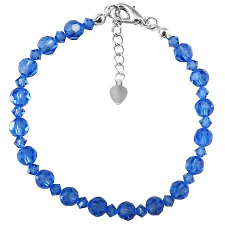 Sapphire Swarovski Crystals Wedding Blue Dress Prom Jewelry Bracelet