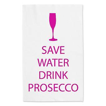 Ahorrar agua bebida Prosecco blanco toalla de té rosa texto