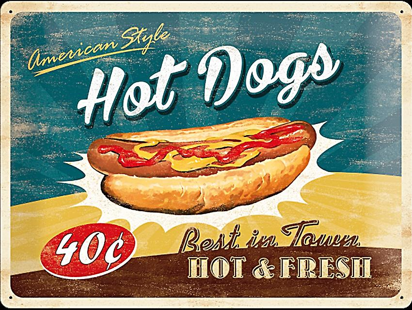 Hot Dogs large embossed steel sign    (na 4030)