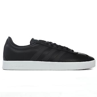 adidas VL Court 2.0 Leather Mens Sport Fashion Trainer Shoe Black/White