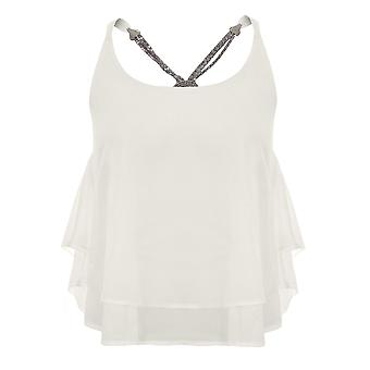 Ladies Strappy Chiffon Layered Baggy Silver Chain Back High Low Flare Top