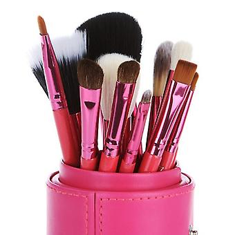 Pink Leather Cup 12 Make Up  Brushes Cup Set Goat /Pony /Synthetic Hair Aluminium Ferrule Natural Wood Handle