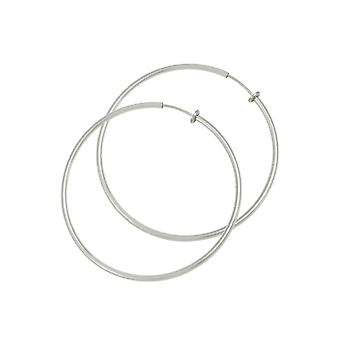 Eternal Collection Hoopla 35mm Silver Tone Clip On Hoop Earrings