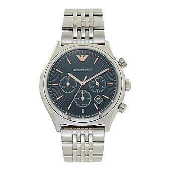 Armani Watches Ar1974 Blue, Rose Gold & Silver Stainless Steel Chronograph Men's Watch