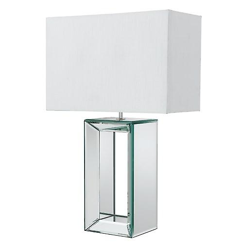 Searchlight 1610 Modern Table Lamp Mirrored Glass Base With White Faux Silk Shade