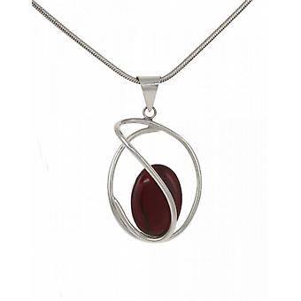 "Cavendish French Sterling Silver and Formed Red Jasper Swirl Pendant with 18 - 20"" Silver Chain"