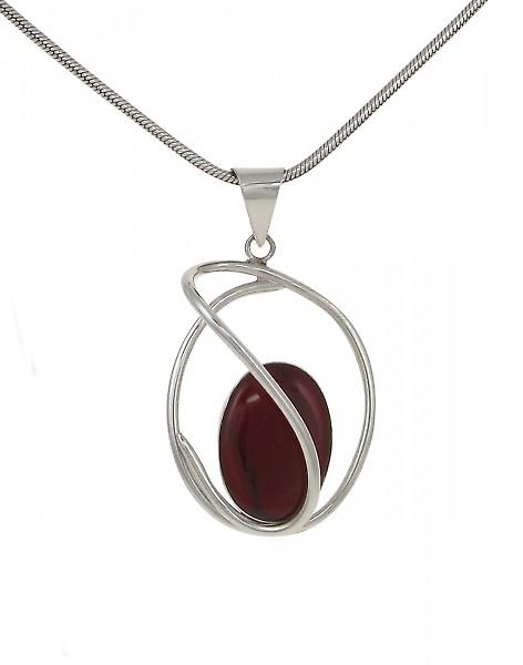 Cavendish French Sterling Silver and Formed Red Jasper Swirl Pendant