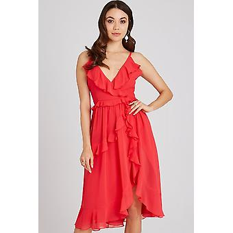 8506a28d6d92d Little Mistress Selma Poppy Frill Midi Dress