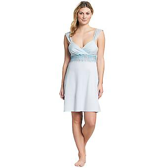 Feraud 3191124-11770 Women's Couture Crystal Blue Cotton Night Gown Nightdress