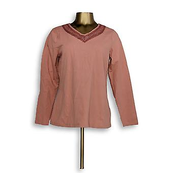 Denim & Co. Women's Top Long Sleeve V Neck Embroidered Trim Pink A272237