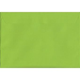 Lime Green Peel/Seal C4/A4 Coloured Green Envelopes. 120gsm Luxury FSC Certified Paper. 229mm x 324mm. Wallet Style Envelope.