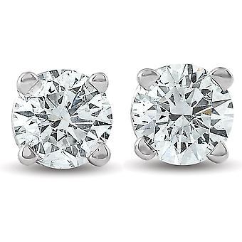 1 / 3ct Runde Diamanten Ohrstecker Ohrringe 14K White Gold