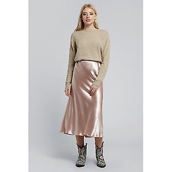 Louche Tehani Satin Bias Cut Midi Skirt Pink