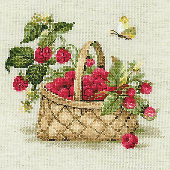 Basket Of Raspberries Counted Cross Stitch Kit-11.75