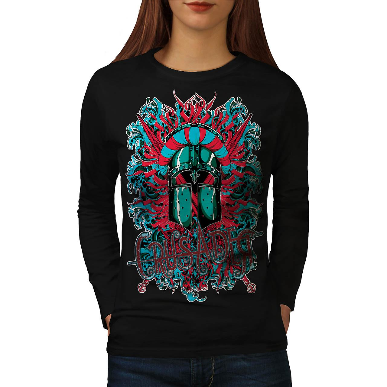 Crusader Knight Hero Darkness Women Black Long Sleeve T-shirt | Wellcoda