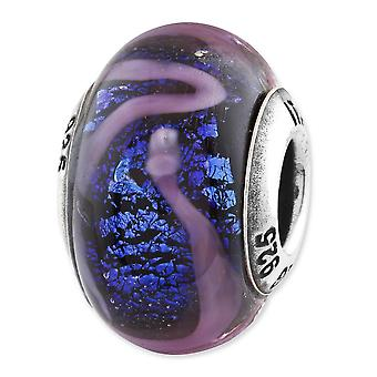 Sterling Silver Reflections Blue With Purple Swirls Glass Bead Charm