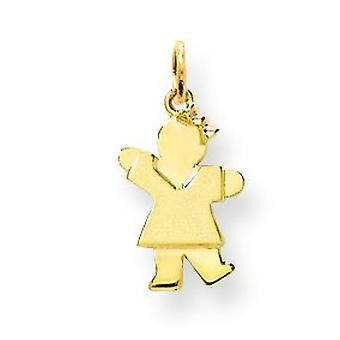 14k Gold Mini Children Girl Charm - .8 Grams