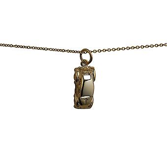 9ct Gold 16x8mm VW Beetle Car Pendant with a cable Chain 16 inches Only Suitable for Children