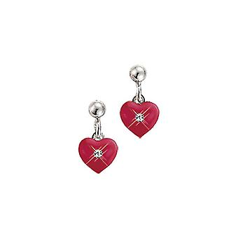 Scout children earrings silver heart red girl 262146100