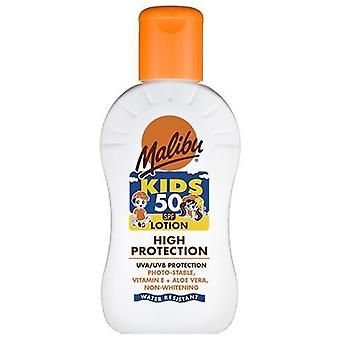 Malibu Water Resistant High Protection Children's Kids Sun Lotion 50 SPF 100ml