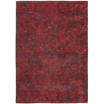 Distressed Grey Red Medallion Flatweave Rug 280 x 360 - Louis de Poortere