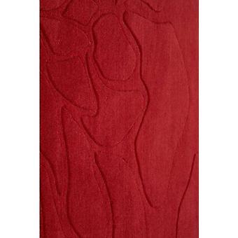 Modern Red Handcarved Wool Rug - Flora