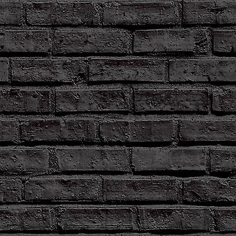 Arthouse VIP Brick Wall Effect Black Classic Wallpaper