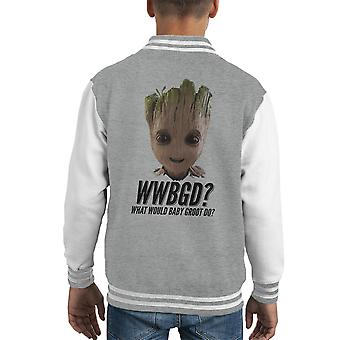 Guardians Of The Galaxy What Would Baby Groot Do Kid's Varsity Jacket