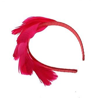 W.A.T Bright Pink Feathered Satin Covered Hair Band
