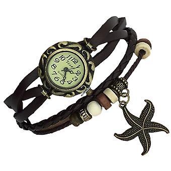 Boolavard® TM Seestern Quarz Mode weben Wrap-around-Leder-Armband-Frauen-Armbanduhr