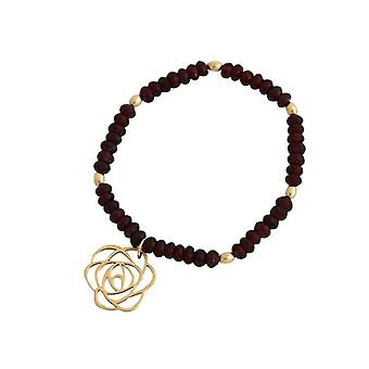 Garnet bracelet Garnet bracelet Garnet jewelry gold plated flower Art-Deco