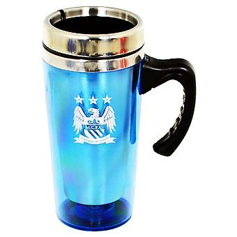 Manchester City FC Official Aluminium Football Crest Travel Mug