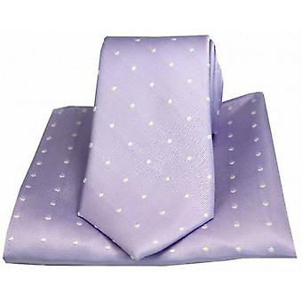 David Van Hagen Polka Dot Tie and Pocket Square Set - Lilac/White