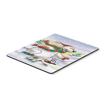 Holiday Polar Bears Ice Skating Mouse Pad, Hot Pad or Trivet