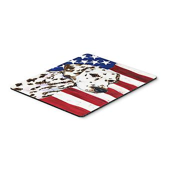 USA American Flag with Dalmatian Mouse Pad, Hot Pad or Trivet