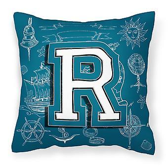 Letter R Sea Doodles Initial Alphabet Canvas Fabric Decorative Pillow