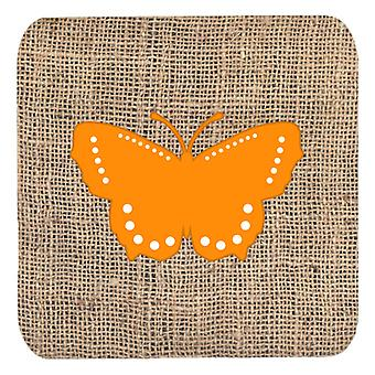 Carolines Treasures  BB1033-BL-OR-FC Set of 4 Butterfly Burlap and Orange Foam C
