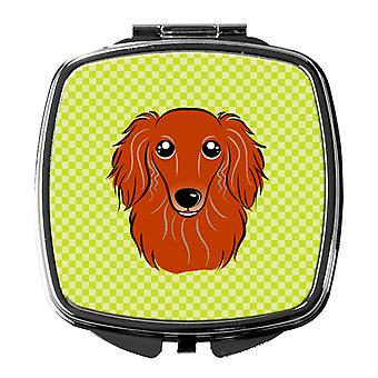 Checkerboard Lime Green Longhair Red Dachshund Compact Mirror