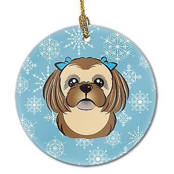 Snowflake Chocolate Brown Shih Tzu Ceramic Ornament