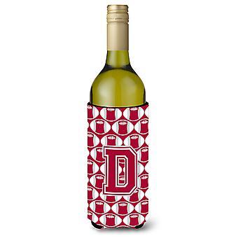 Letter D Football Crimson, grey and white Wine Bottle Beverage Insulator Hugger
