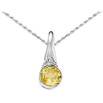 Sterling Silver Citrine Drop Pendant Necklace with Synthetic Cubic Zirconia (CZ)