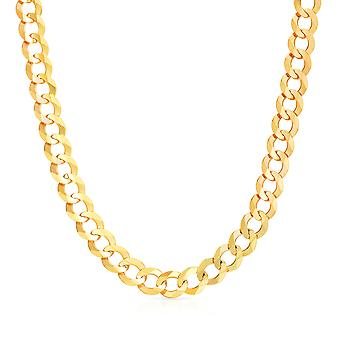 10k желтое золото Mens толщиной твердых снаряженном состоянии кубинской ссылка цепи ожерелье, 0,4 дюйма (10 мм)