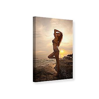 Canvas Print Bikini Beauty At Sunset