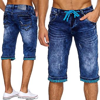 Men's shorts Stonewashed Jeans shorts ripped Capri Cargo Blau Cut out new