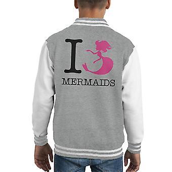 I Heart Mermaids Kid's Varsity Jacket