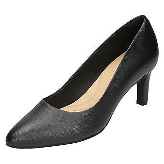 Ladies Clarks Textured Court Shoes Calla Rose - Black Textured Leather - UK Size 4.5E - EU Size 37.5 - US Size 7W