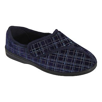 Zedzzz Mens George Touch Fastening Check Velour Slippers